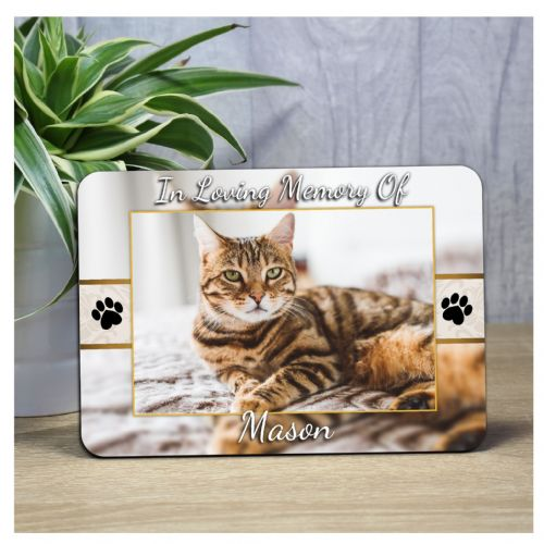Cat Dog Pet Memorial Bereavement Sadly missed Keepsake Wood Photo Panel Print Gift F54